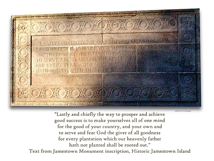 Jamestown Monument Inscription