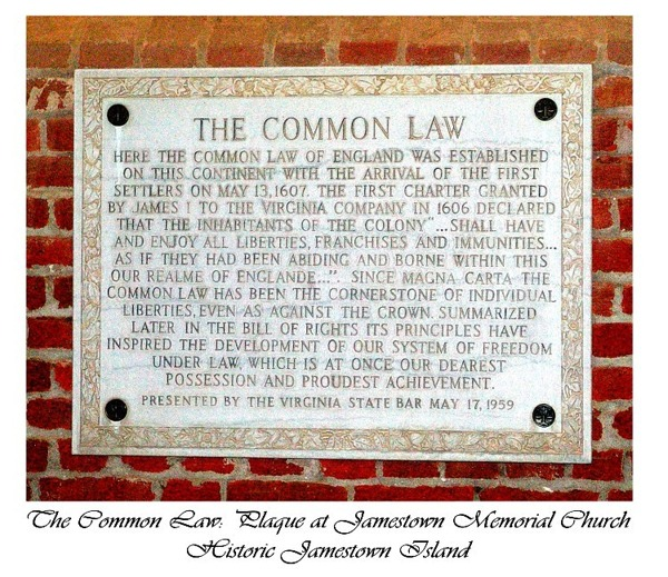 Jamestown - The Common Law Plaque
