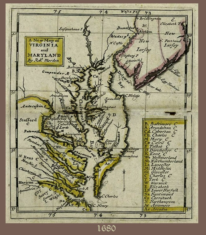 1680 Map of Virginia and Maryland