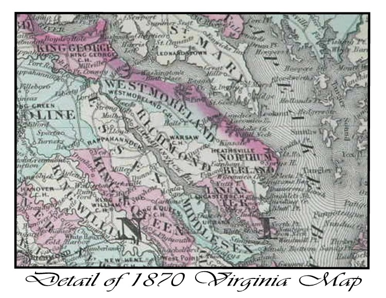 Virginia Map Detail 1870