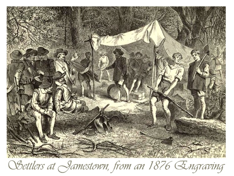 Settlers at Jamestown, 1876 Engraving