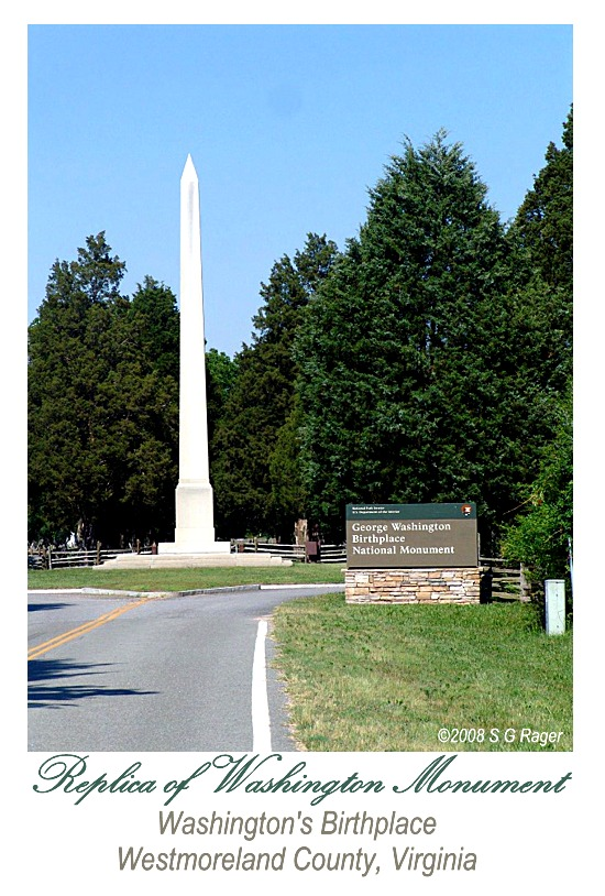 Replica of Washington Monument, Washington's Birthplace